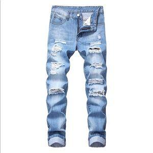 NEW Blue Distressed Slim Fit Jeans